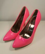 80's-90's Style Hot Neon Pink Charles Albert Heels Pumps Size 8.5