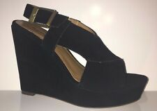 NEW Report Civni Women's Sandal Wedge Leather Suede Black Shoes Sz 7.5