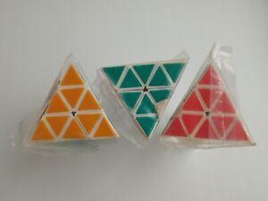 Vintage Rubik's pyramids of 1987.