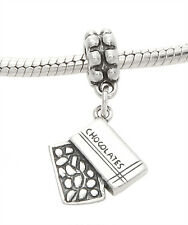 STERLING SILVER ONE SIDED BOX OF CHOCOLATES EUROPEAN STYLE DANGLE BEAD