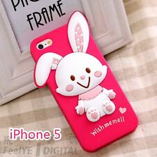 Girls Iphone 5 5S Silicone Gel TPU Pink Melody Rabbit bunny Case Cover Protector