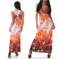 Womens Summer Beach Floral Embroided Long Maxi Dress size 10 12 14 M XLM