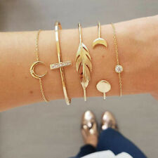 5Pcs/Set Boho Crystal Moon Feather Women Gold Chain Cuff Bracelet Bangle Jewelry