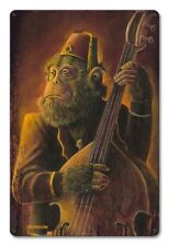 Vintage Styled Metal Sign Ape Rockabilly Chimp Monkey Art Upright Bass Tiki Bar