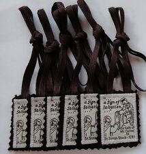 """Six (6) Traditional Catholic 100% Brown Wool """"Our Lady of MT. Carmel Scapular s"""""""