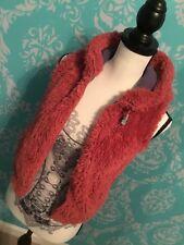 Mini Boden Girls 7-8 Pink Vegan  Fur Vest Zip Front With Hoodie