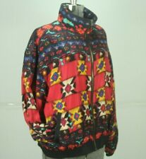Vintage 90s Silk Bomber Jacket Womens Large Southwest Print Red