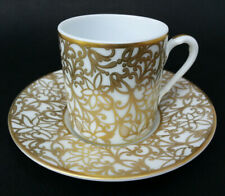 """SUBLIME TASSE A CAFE + SOUCOUPE porcelaine RAYNAUD LIMOGES """"SALAMANQUE"""" or"""