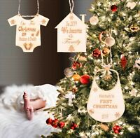 Set 3x Personalised Baby First Christmas Wood Ornament Tree Hanging Bauble Xmas