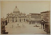 La Place San Pierre Per Roma Italia Vintage Albumina, Ca 1880