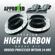 Front & Rear High Carbon Alloy Drilled & Slotted Brake Rotor / High Carbon Pads