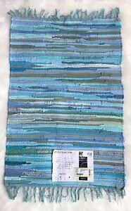 Unique Loom Braided Chindi Rug  Blue-Green 65x95 cm