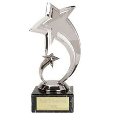 SHOOTING STARS SILVER COLOUR TROPHY ENGRAVED FREE CONGRATULATIONS AWARD TROPHIES