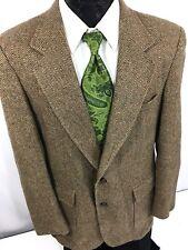 Men's Brown HERRINGBONE Sport Coat DONEGAL TWEED Jacket HUNTING Wool Blazer 42 R