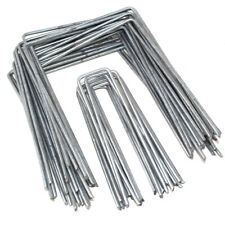 GALVANISED GROUND STAPLES MULCH MAT PINS LANDSCAPING MEMBRANE PEGS WEED CONTROL