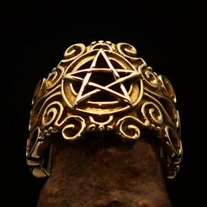 Excellent crafted ancient Pentagram Men's Ring five point Star Pentagon
