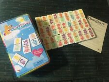Vintage 2003 27 Care Bears Plastic Dominoes Game in Collector Tin w Instructions