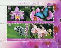 Chad 2018 CTO Orchids & Butterflies 4v M/S Flowers Butterfly Orchid Stamps