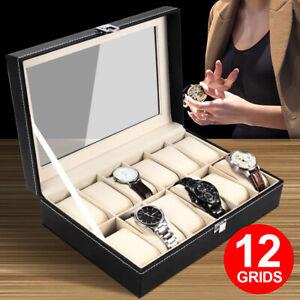 VIVVA 12 Grids Leather Watch Jewelry Display Storage Holder Case Box Organizer