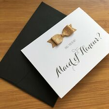 Will You Be My Maid Of Honour Card & Envelope Wedding Invitation Copper Glitter