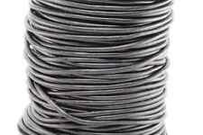 "50m Natural Flat Black 3MM Genuine Round Leather Cord 1/8"" DIY Craft 50 Yards"