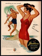 1950 JANTZEN Swim Suits - Man Calling Out To Sexy Woman - Palm Tree  VINTAGE AD