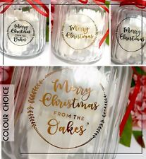 Christmas Personalised Transparent stickers - Gold, Silver, Rose Gold foil gloss