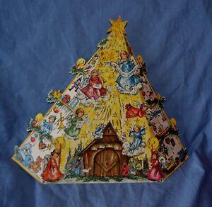 Vintage 1964 Haco West Germany Glitter Christmas Advent Calendar #297 Tree Fold