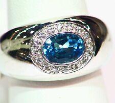 14K White Gold Natural Round Cut Diamond Topaz Vintage Engagement Bridal Band