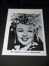 "IRIS ADRIAN ""LADY OF BURLESQUE"" Signed AUTOGRAPHED 8X10 PHOTO THE ERRAND BOY"