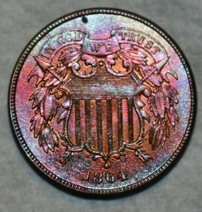 Uncirculated 1864 Two Cent Piece, Attractively toned specimen.