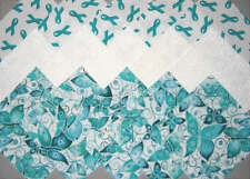 OVARIAN CANCER AWARENESS Teal Ribbons & BUTTERFLIES Quilt Fabric Squares