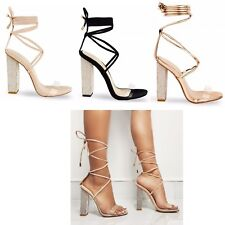 Womens Ladies Block High Diamante Heel Lace Tie Up Perspex Strap Sandals Shoes