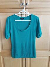 Escada Cashmere Emerald Green Short Sleeves Thin Knit Top Sz 36
