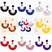 Fashion Women Boho Retro Vintage Sector Tassel Fringe Dangle Earrings Jewelry