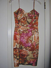 DAVID MEISTER DRESS 2 NEW COPPER BROWN PEACH FLORAL XS