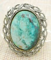 Blue Green Agate Stone Silver Tone Pin Brooch Pendant Vintage