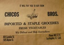 1930's Chicos Bros. Paper Grocery Bag Los Angeles  NOS Chinatown N. Hill BiPlane