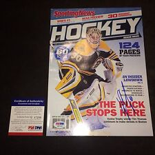 Tim Thomas Boston Bruins Signed Autograph Sporting News Magazine PSA/DNA COA