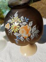 Westmoreland Glass Fairy Lamp Milk Glass Base Orange Roses Brown Mist Shade