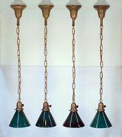 SET 4 Antique 1920 Green Glass Shade Brass Ceiling Pendant Light Fixtures 2 PAIR