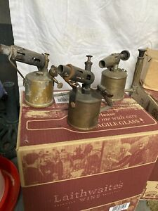 vintage brass blow lamps X 5 (3 Used And 2 New)