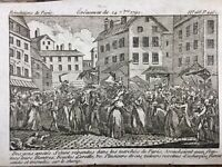 Révolution Française 1792 Rare Gravure Révolution de Paris Révolte