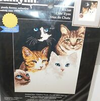 JANLYNN Cats Eyes Counted Cross Stitch Kit Kittens 1998 9 x 12 NEW