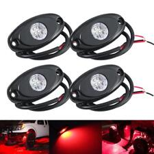 4x RED CREE LED Rock Light Offroad Truck ATV UTV Boat Under Body Trail Rig Lamp