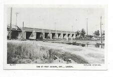 Simcoe County PORT SEVERN, ONTARIO  Dam  Black and White Real  Photo Postcard