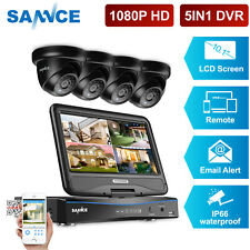 """SANNCE 4CH 5IN1 10.1""""LCD Monitor DVR Dome 3000TVL CCTV Camera Home Security Kit"""