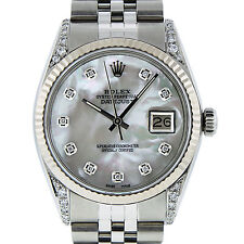ROLEX DATEJUST MENS S/STEEL & WHITE GOLD MOTHER OF PEARL DIAMOND 36MM MENS WATCH