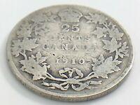 1910 Canada Twenty Five 25 Cent Quarter Canadian Circulated Edward VII Coin J758