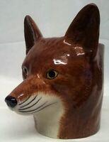 QUAIL CERAMIC FOX HEAD DESK TIDY, PENCIL, PEN, BRUSH POT VASE WILD ANIMAL FIGURE